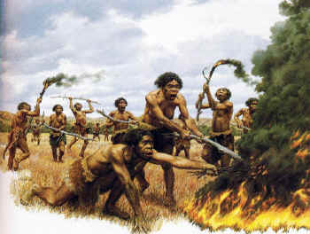 Homo erectus learns how to use fire